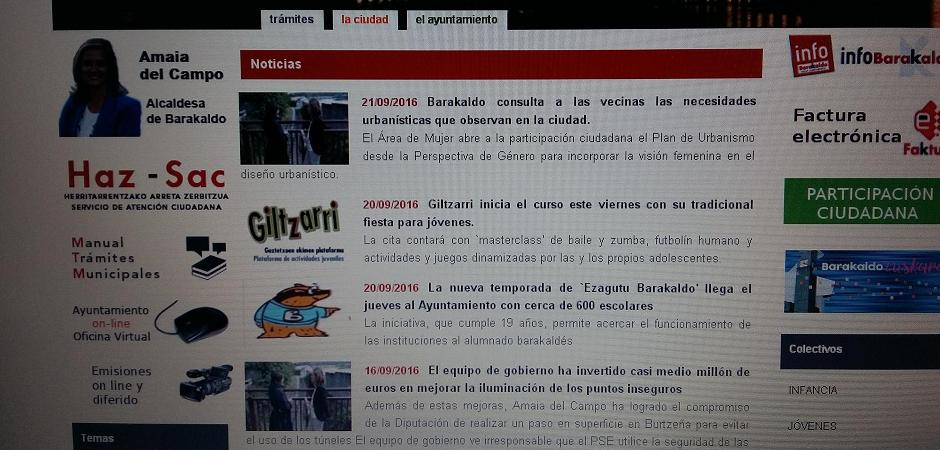 EL PNV DE BARAKALDO HACE UN USO PARTIDISTA DE LA WEB MUNICIPAL