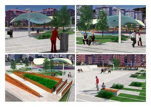 Detalle proyecto parque sobre la A-8 en Cruces