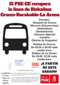 El PSE-EE recupera la línea de Bizkaibus Cruces-Barakaldo-La Arena