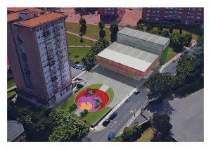 Proyecto frontón La Paz cubierto (imagen aérea)