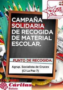 Cartel Recogida Material Escolar. Agrupación Cruces. Castellano