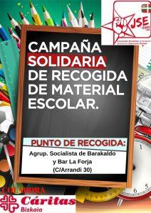 Cartel Recogida Material Escolar. Juventudes. Agrupación Barakaldo. Castellano