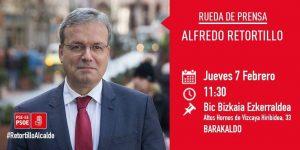 Cartel rueda de prensa Alfredo Retortillo 7 de febrero